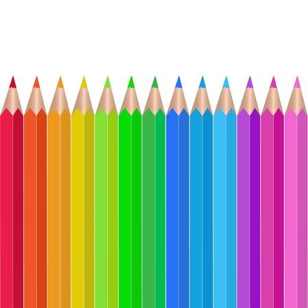 흰색 배경에 컬러 연필 그림 일러스트