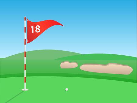 Golf outdoor scene illustration