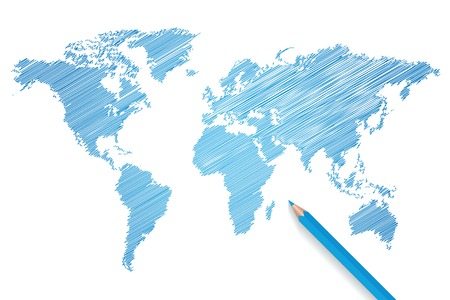 map pencil: Colored pencil world map illustration