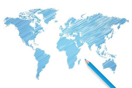 Kleurpotlood wereld kaart illustratie Stock Illustratie