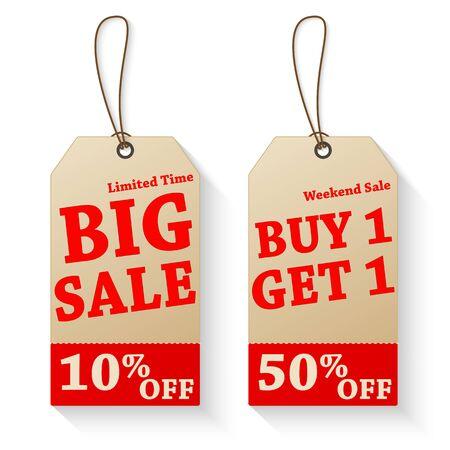 cut price: Vintage sale tags isolated Illustration