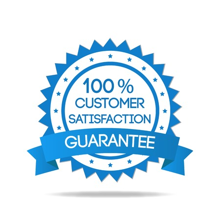 Blue customer service badge isolated Vector
