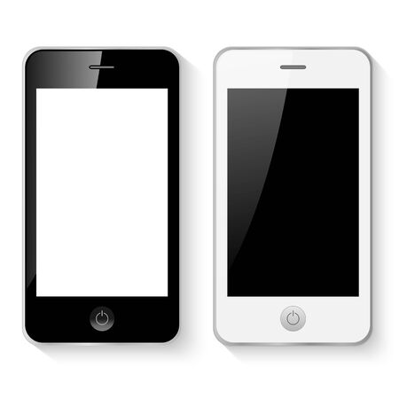 Black and white mobile smart phones illustration isolated