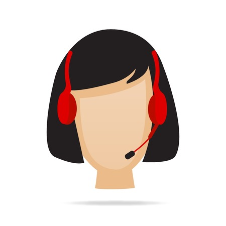 call center female: Customer Service Support Illustration