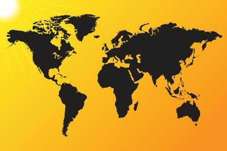 World map vector illustration on a sun background Illustration