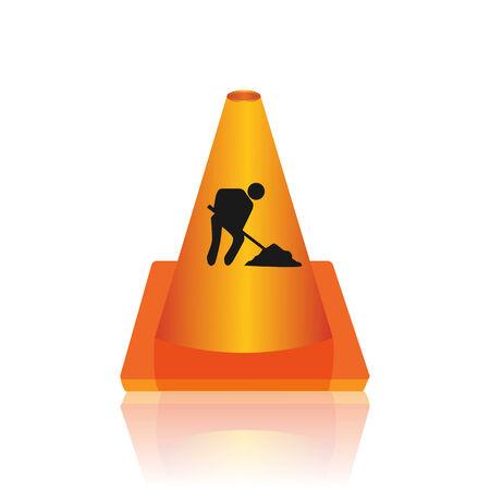 Under construction cone vector illustration Illustration