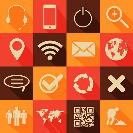 Retro style web and mobile icon set