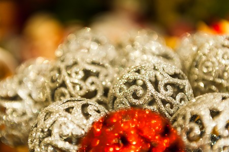 Many Red and White Christmas balls in rhinestones colorful Background Stock Photo