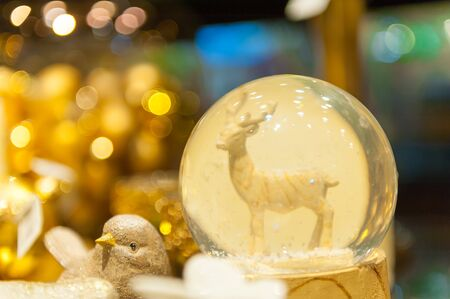 snow globe: Christmas snow globe with an deer in snow inside of spere