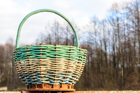basketry: Net and wicker lobster pots group of net and wicker traditional creels on fishing quay