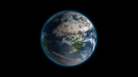 Realistische Erde, die auf schwarzer Schleife rotiert. Globus ist im Rahmen zentriert, mit korrekter Drehung in nahtloser Schleife.