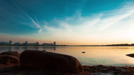 4K sunset beautiful summer landscape with cloudy sky and natural lake Reklamní fotografie
