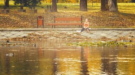 Little girl age 05 feed male and female Mallard wild duck in a pond Stok Fotoğraf - 121992417