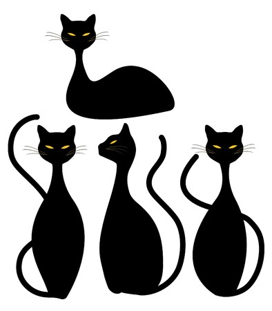 Four Slinky Black Cats 일러스트