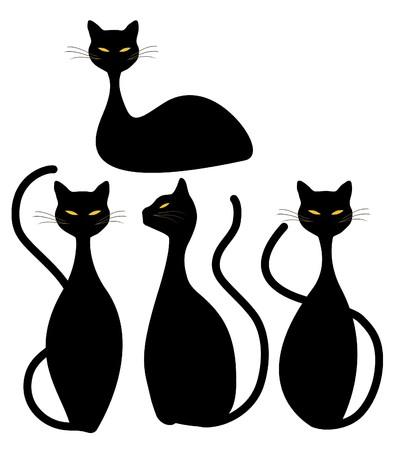 Vier Slinky schwarze Katzen Standard-Bild - 7781016