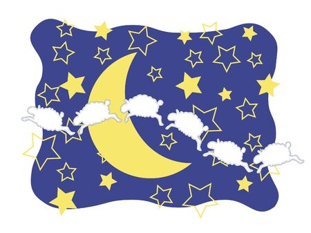 crescent moon: Six playful sheep leaping through a star filled  sky amid  a crescent moon