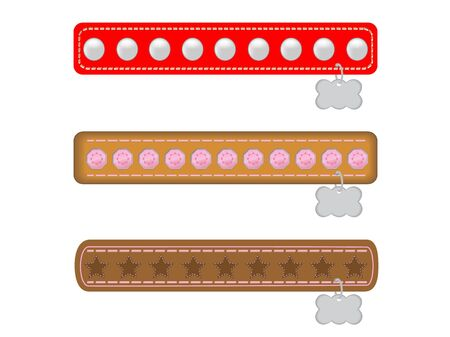 Three Fancy Dog or Cat Collars with Name Tags Illustration