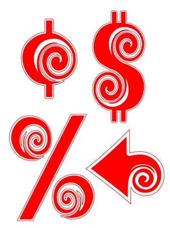 Peppermint Candy Cane Cent, Dollar, Percentage, and Arrow Sign