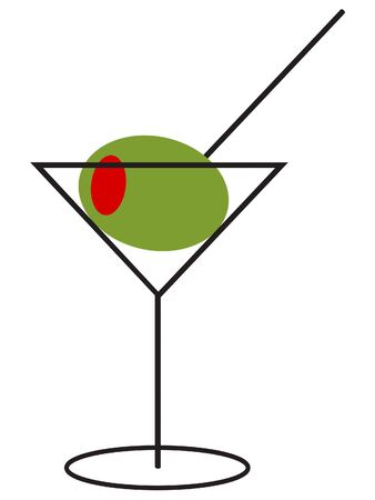 Martini with an Extra Large Olive on a Toothpick