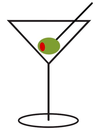 Martini with an Olive on a Toothpick Vettoriali