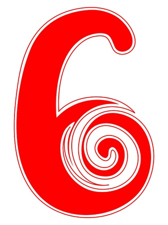 numbers: Peppermint Candy Cane Number Six