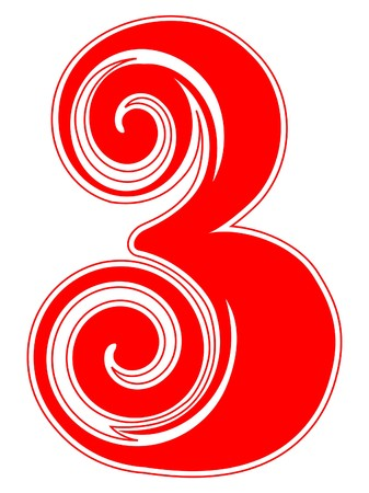 numbers: Peppermint Candy Cane Number Three Illustration