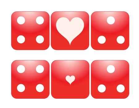 Two Pairs Red Dice with Large and Small Heart Ace, eps10  Иллюстрация