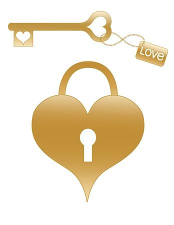 Serratura a cuore in oro e chiave con Archivio Fotografico - 8663282