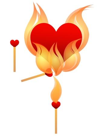Herzförmige entspricht Beleuchtung ein Herz auf fire.eps 10 Standard-Bild - 8663283