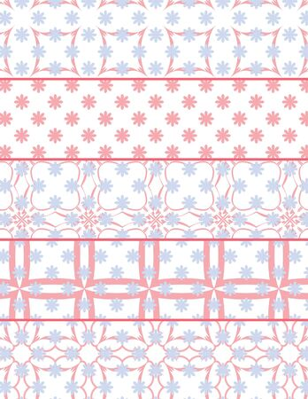 Set of Five Coordinating Pink and Blue Flower Patterns Çizim