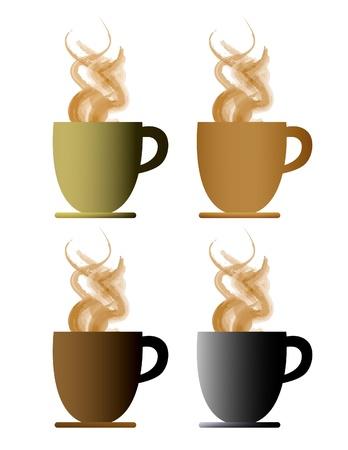 Eps10 de cuatro al vapor caliente tazas de café o té Foto de archivo - 8663284
