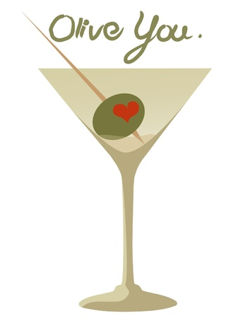 Olive You I Love You Martini with Heart Olive Vector