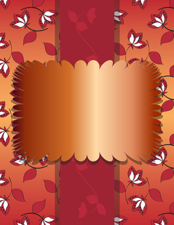 Elegant Copper Foil Text Frame  on Burgundy Orange Floral Background