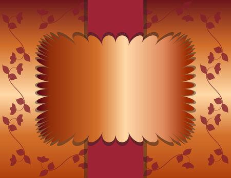 オレンジ色のバーガンディ開花ブドウの背景にエレガントな銅箔テキスト枠