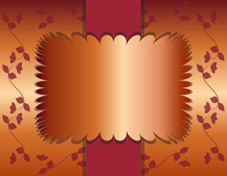 Elegant Copper Foil Text Frame  on Burgundy Orange  with Flowering Vines Background Ilustrace