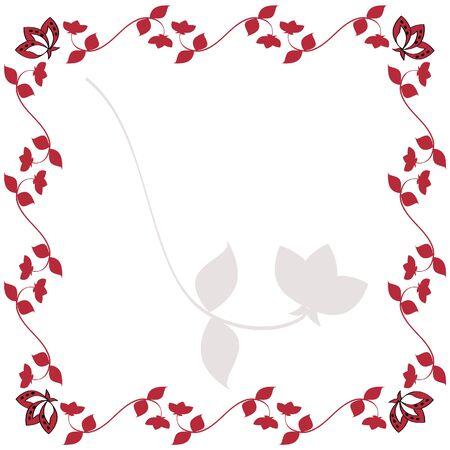 Burgundy Red Flowering Vine Illustration