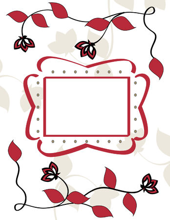 Red Flower Vine Illustration with Decorative Text Frame