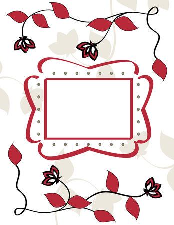 Red Flower Vine Illustration with Decorative Text Frame