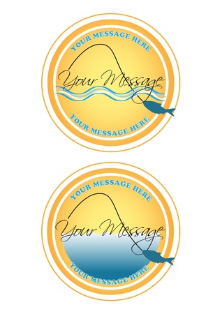 Fishing Label or Button eps 10 Vector
