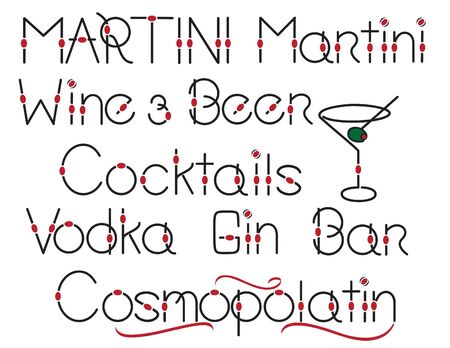 martini glass: Assorted stylish words for alcohol, beer and wine and martini glass illustration