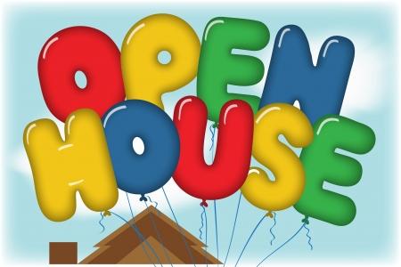 open huis: Open Huis Ballonnen in blauwe hemel over een Huis Rooftop Postcard