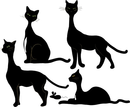 Four Black Cats and a Mouse Stock Vector - 11907928