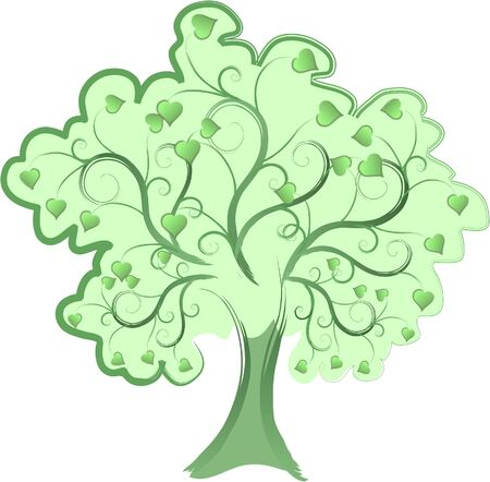 Love Tree. Green tree with Heart leaves.