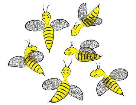 bee swarm: Six Smiling Happy Wasps