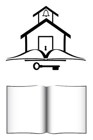 school house: Old School Fashion House, Key, y el libro abierto Vectores