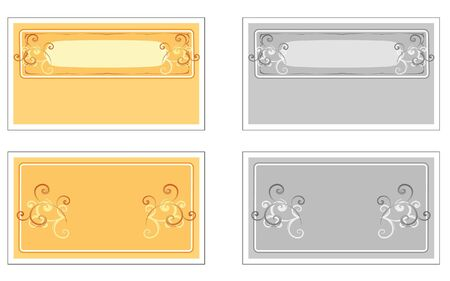 Fancy Scroll Business Cards in Orange or Gray Иллюстрация