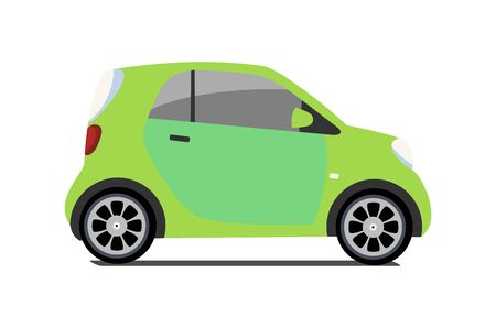 Car sharing vector city micro green car. Eco vehicle cartoon icon isolated on white background. Cartoon vector illustration with urban ecological transport. Cute vector smart car illustration.