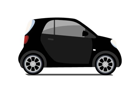 Car sharing , vector city micro black car. Eco vehicle cartoon icon isolated on white background. Cartoon vector illustration with urban ecological transport. Cute vector smart car illustration.