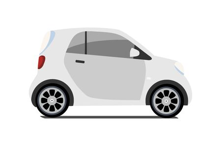 Car sharing vector city micro grey car. Eco vehicle cartoon icon isolated on white background. Cartoon vector illustration with urban ecological transport. Cute vector smart car illustration.