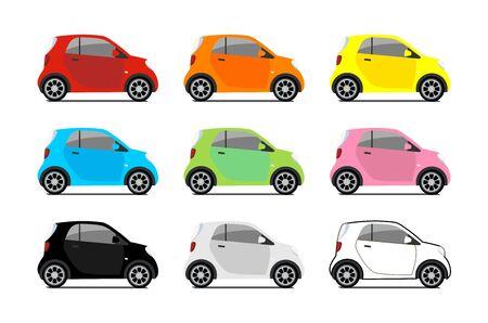 Carsharing, Vektor-Stadt-Mikro-Auto-Set. Eco-Fahrzeugkarikaturikonen lokalisiert auf weißem Hintergrund. Cartoon-Vektor-Illustration mit städtischen ökologischen Transport. Nette Vektorillustration der intelligenten Autos.